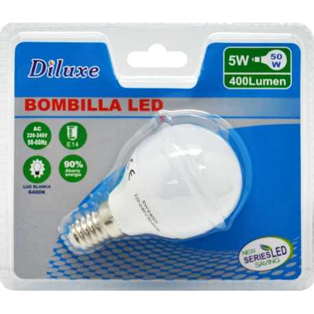 BOMBILLA LED 6W CASQUILLO FINO E14 LUZ BLANCA 6400K