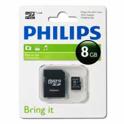 PHILIPS microSD 8GB, class 4, con adaptador