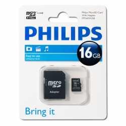 PHILIPS microSD 16GB, class 4, con adaptador
