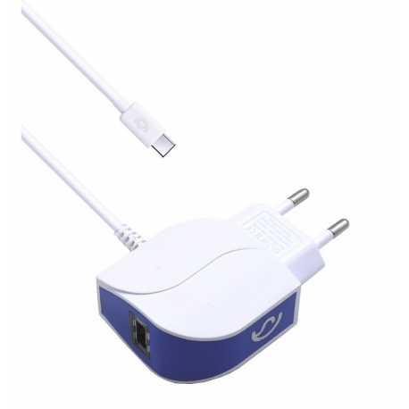 Cargador de Cable Tipo C + 1 entrada USB extra 2.1A