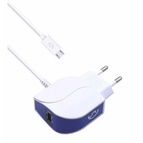 Cargador blanco de cable micro USB incorporado, con una entrada USB extra, de 2.1A. Carga rápida y eficiente.