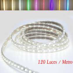 TIRAS DE LED MANGUERA LUZ (120 Luces/Metro) Color Amarillo 220V INTERIOR IP65 ALTA ILUMINACION